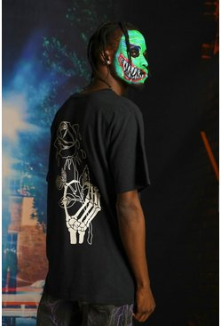 Mens Black Halloween Skeleton Hand With Rose Print T-Shirt
