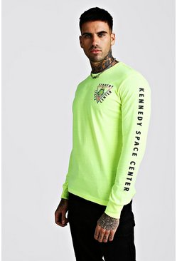 Green Long Sleeve Nasa License T-Shirt