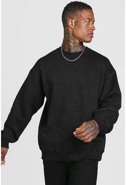 Black Basic Oversized Crew Neck Sweatshirt