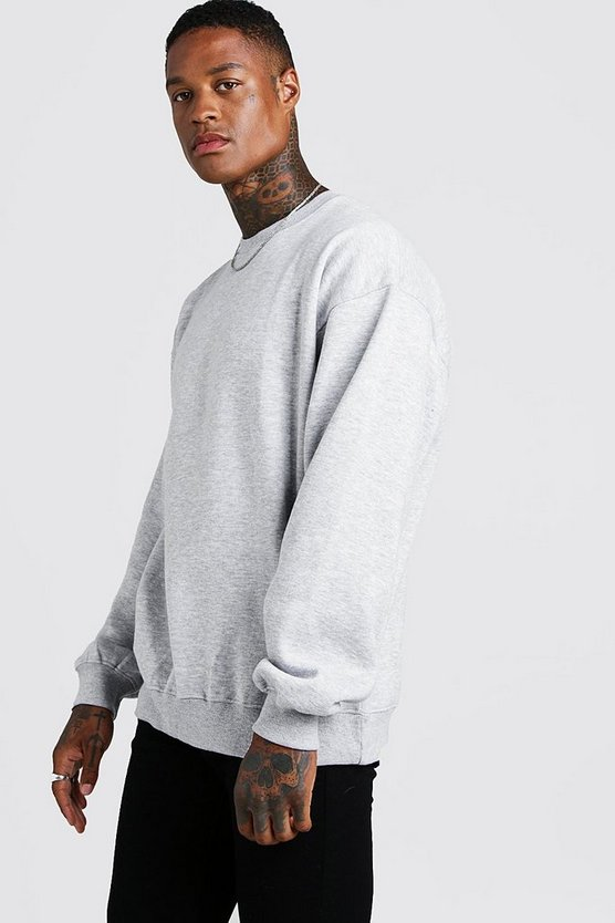Mens Grey marl Basic Oversized Crew Neck Sweatshirt