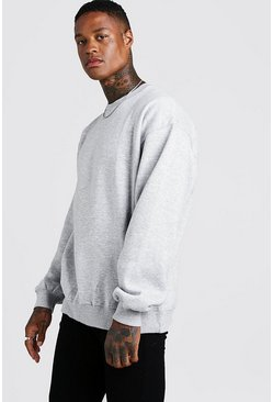 Grey marl Basic Oversized Crew Neck Sweatshirt