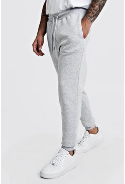 Mens Grey marl Basic Skinny Fit Fleece Jogger