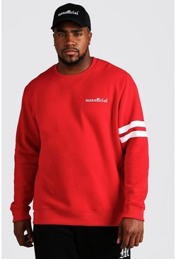 Mens Red Big & Tall MAN Official Stripe Detail Sweater