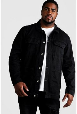 Mens Black Big & Tall Cotton Twill Utility Overshirt