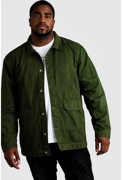 Mens Khaki Big & Tall Cotton Twill Utility Overshirt