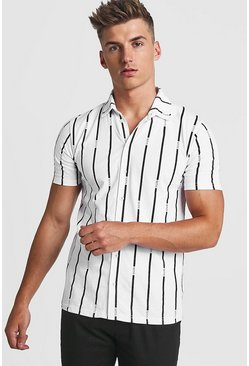 Mens White Stripe MAN Short Sleeve Shirt