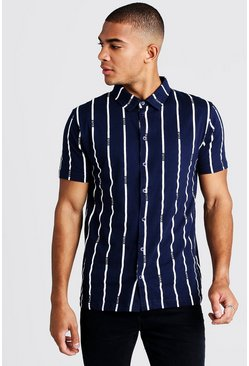 Chemise manches courtes à rayures MAN, Marine, Homme