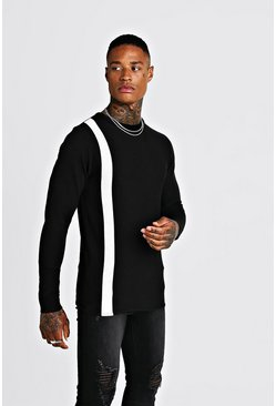 Mens Black Long Sleeve Knitted Jumper With Contrast Stripe