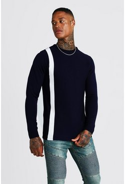 Mens Navy Long Sleeve Knitted Jumper With Contrast Stripe