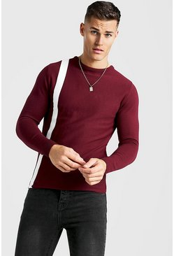 Mens Burgundy Long Sleeve Knitted Jumper With Contrast Stripe