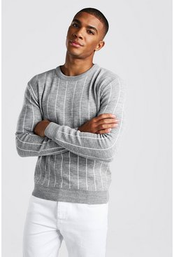 Light grey Long Sleeve Pinstripe Knitted Jumper