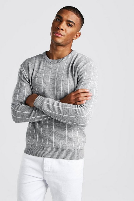 Mens Light grey Long Sleeve Pinstripe Knitted Jumper