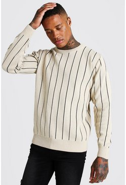 Pull manches longues en maille à fines rayures, Taupe, Homme