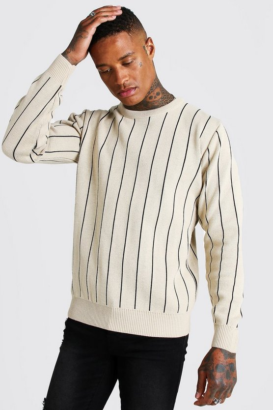 Mens Taupe Long Sleeve Pinstripe Knitted Jumper