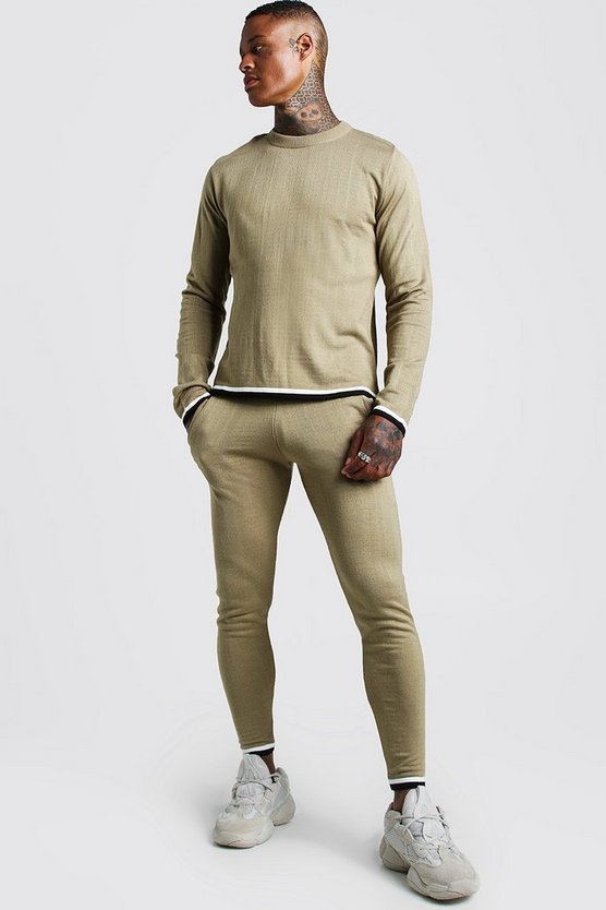 Mens Camel Long Sleeve Knitted Tracksuit With Tipping