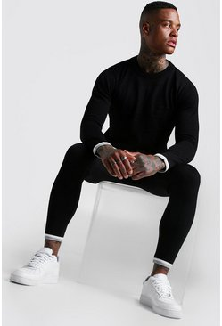 Mens Black Long Sleeve Knitted Tracksuit With Tipping