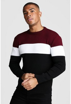 Burgundy Muscle Fit Long Sleeve Block Knitted Jumper