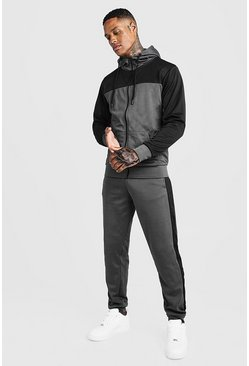 Mens Charcoal Tricot Colour Block Zip Through Tracksuit