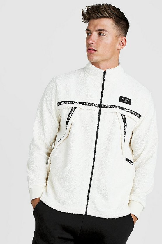 Mens Ecru MAN Official Zip Through Funnel Sweat In Borg