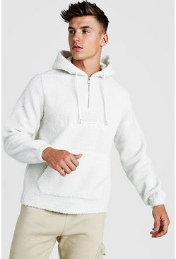 Mens Ecru MAN Official Borg 1/4 Zip Over The Head Hoodie