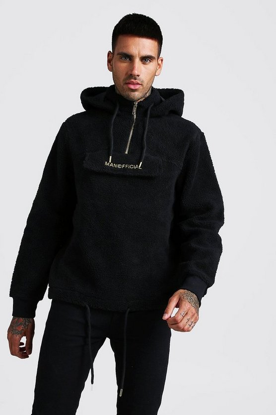 Black MAN Official Borg 1/4 Zip Over The Head Hoodie