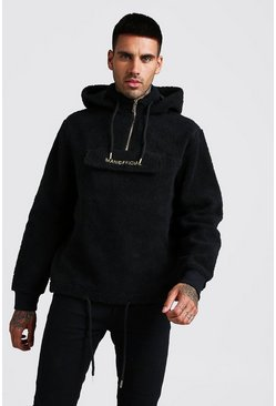 Mens Black MAN Official Borg 1/4 Zip Over The Head Hoodie