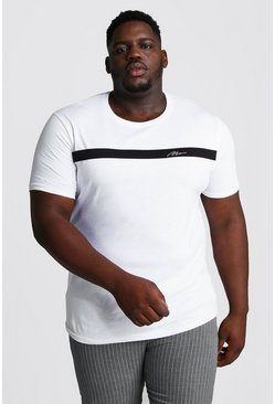 Mens White Big And Tall MAN Signature Colour Block T-Shirt