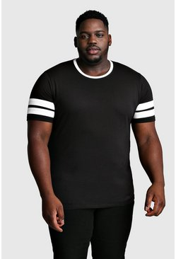 Black Plus Size Sleeve Colour Block T-Shirt