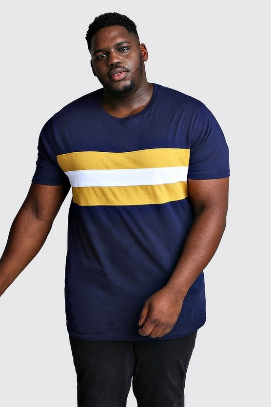 Mens Navy Big And Tall Longline Colour Block T-Shirt