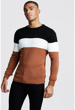 Mens Chocolate Muscle Fit LS Colour Block Knitted Jumper
