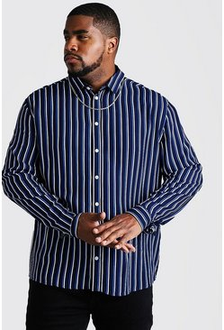 Navy Big & Tall Long Sleeve Stripe Print Shirt