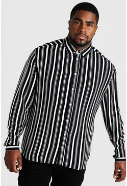 Black Big & Tall Long Sleeve Stripe Print Shirt
