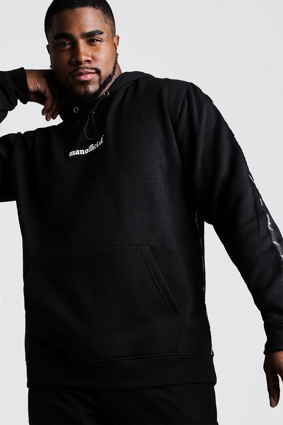 Mens Black Big & Tall MAN Official Tape Detail Hoodie