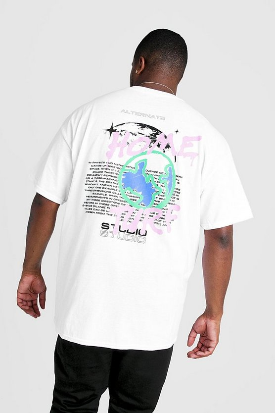 Mens White Big & Tall Home Turf Graffiti Print T-Shirt