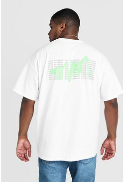 Mens White Big & Tall MAN Grafitti Back Print T-Shirt
