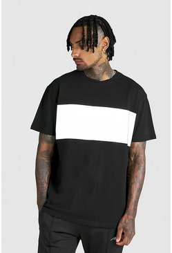Mens Black Loose Fit Reflective Panel T-Shirt