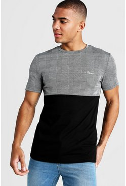 MAN Muscle-Fit Jacquard-T-Shirt, Schwarz