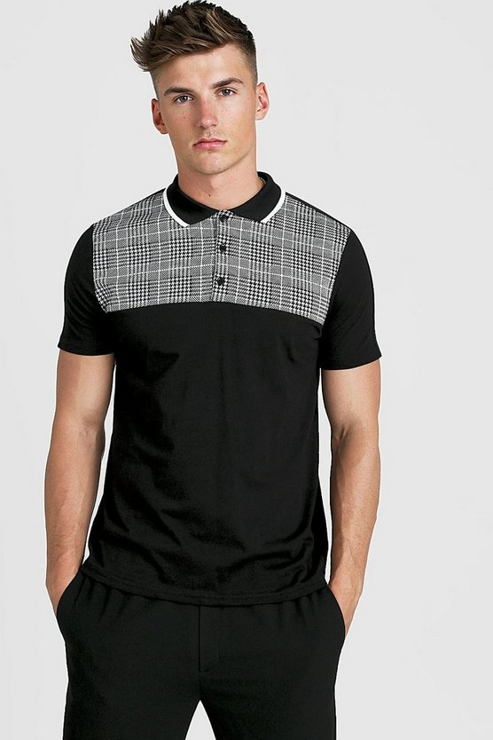 Mens Black Jacquard Check Panel Polo Shirt