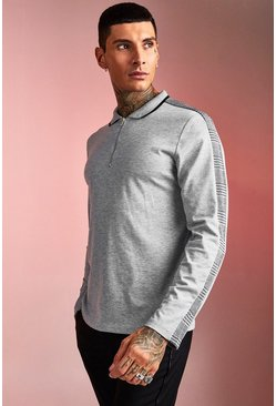 Mens Grey Long Sleeved Taped Polo With Rib Collar