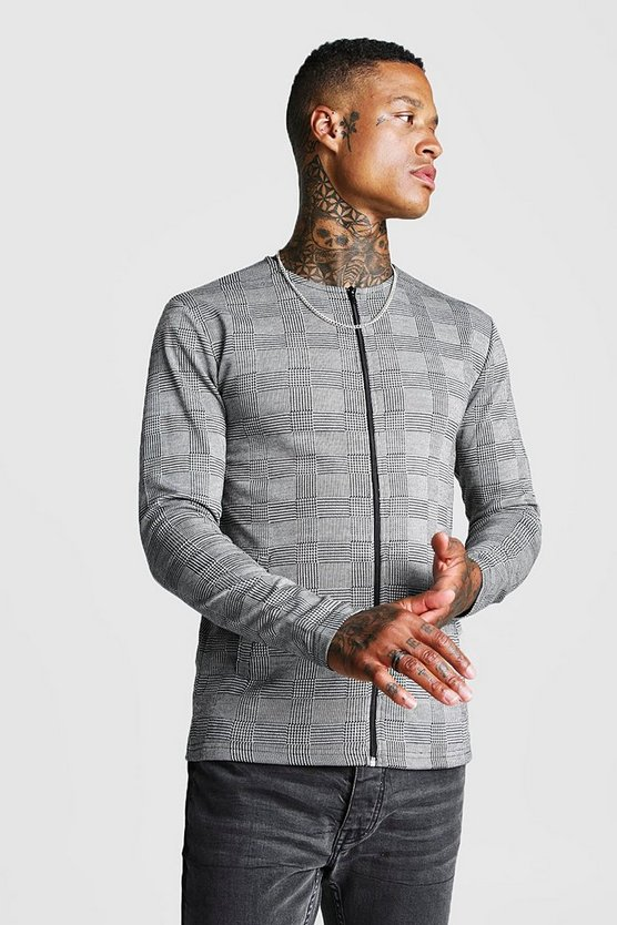 Mens Grey Jacquard Check Colarless Jacket In Muscle Fit