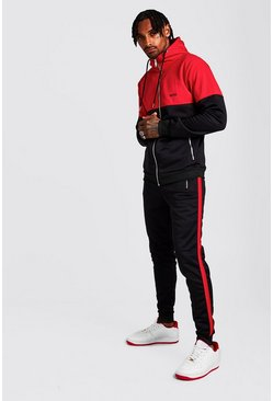 Mens Black Original MAN Tricot Colour Block Hooded Tracksuit