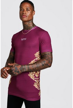 Mens Red MAN Dash Baroque Print Muscle Fit Longline T-Shirt