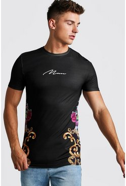 Mens Black Muscle Fit Longline MAN Signature Baroque Tee