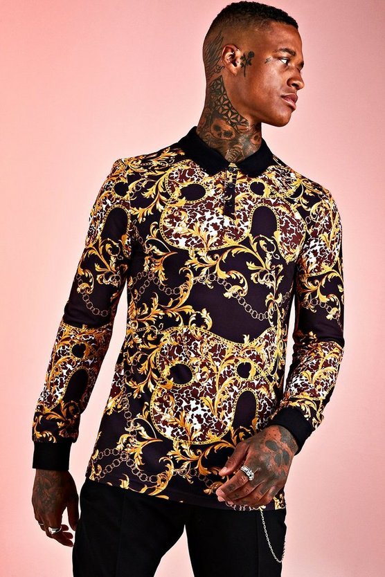 Mens Black Muscle Fit Baroque Long Sleeve Polo