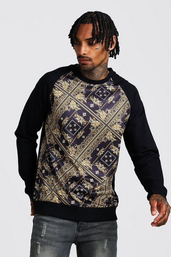 Mens Black Baroque Print Sweatshirt