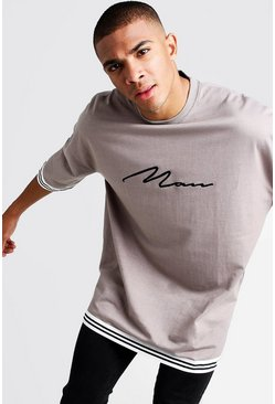 Mens Grey MAN Signature Oversized Drop Shoulder Tape T-Shirt