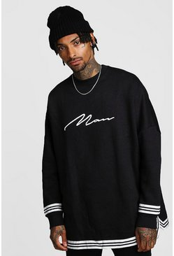 Mens Black MAN Signature Oversized Drop Shoulder Sweat