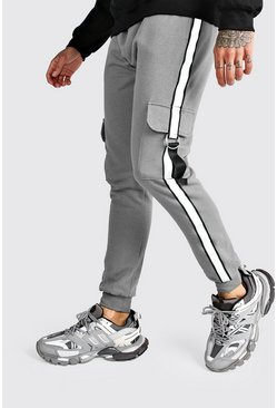 Mens Charcoal Jersey Cargo Joggers With Reflective Tape