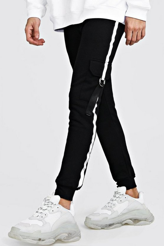 Jersey Cargo Joggers With Reflective Tape by Boohoo Man