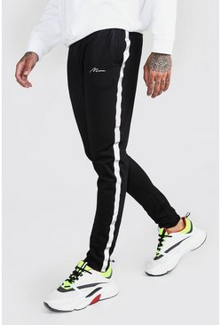 Mens Black MAN Signature Tricot Jogger With Reflective Tape